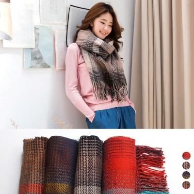 1208新品 配色混織格紋流蘇圍巾.4色