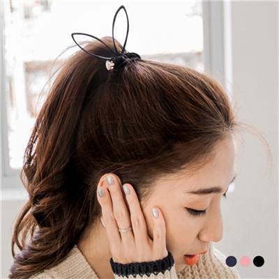 1027新品 【特價款】 水鑽質感蝴蝶結兔耳髮圈.3色