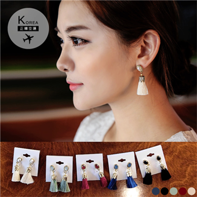 1029新品 【特價款】 奢華寶石流蘇耳環.5色