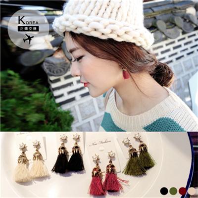 1029新品 【特價款】 優雅質感珍珠流蘇耳環.4色