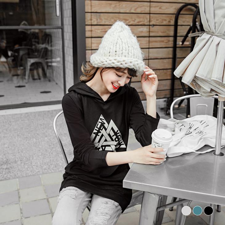 錯視三obdesign tw product角英文圖案燙印連帽長版上衣.3色