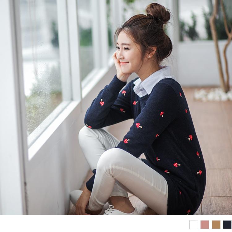 0308新品ob嚴選旗艦店 嚴選韓版小蘑菇圖案針織長版上衣?4色
