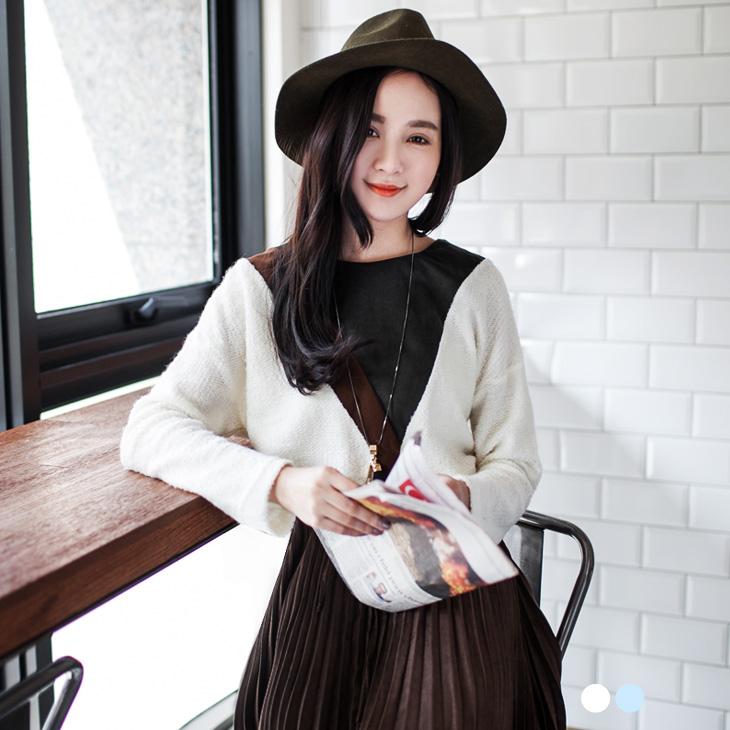 粉嫩仿毛料X麂皮幾何ob棉條特價圖案上衣.2色
