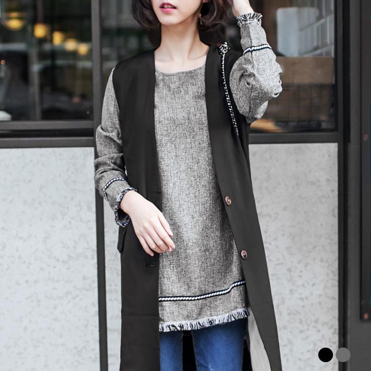 0128新品 質感混色流蘇X編織花邊長版上衣.2色