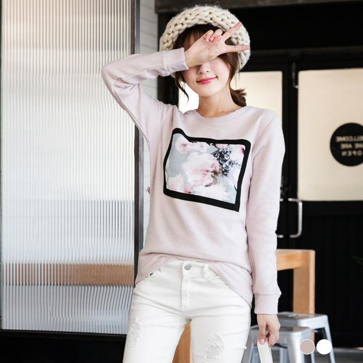 0120新品ob褲 質感花朵拼布飾毛料圓領上衣.2色