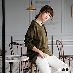 0412新品 純色衛衣面料破損設計落肩長版上衣.3色