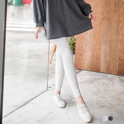 0308新品 中性潮搭~經典黑白直條紋彈力窄管褲‧2色