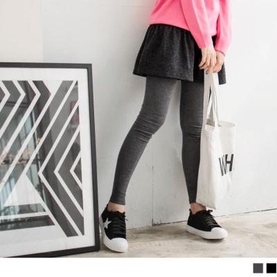 0122新品 質感好穿~混毛料細摺鬆緊小短裙假兩件式內搭褲.2色