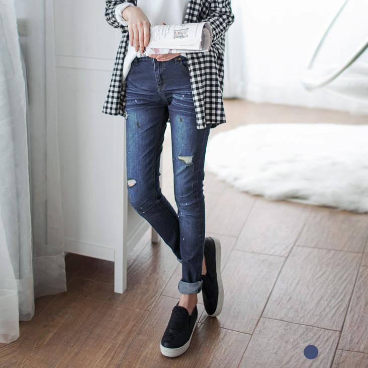 0401新品  抓皺刷色破損感潑墨設計牛仔褲