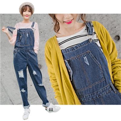 0219新品 嚴選寬鬆感破損設計牛仔吊帶褲