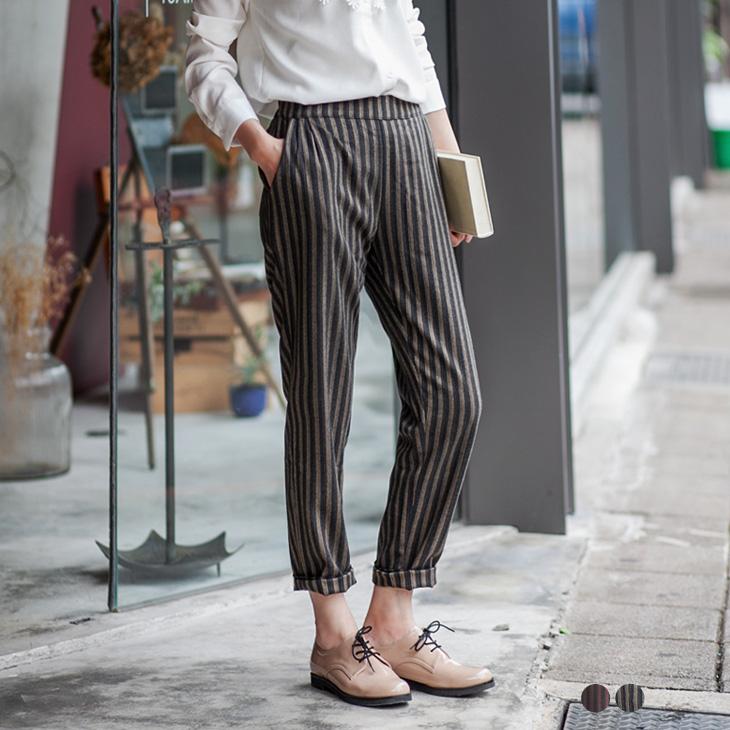 細膩配色條紋立體剪裁長褲.2色