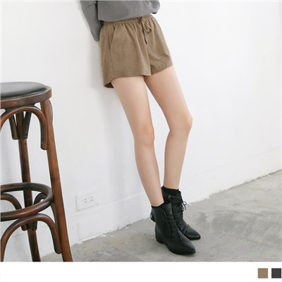 素色麂皮腰圍鬆緊抽繩短褲.2色