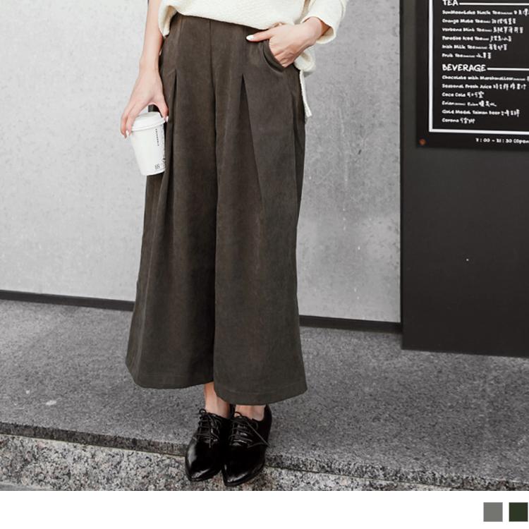 0411新品 質感面料打摺寬管長褲.2色