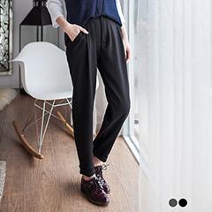 0412新品 深色微彈面料打褶修身長褲.2色