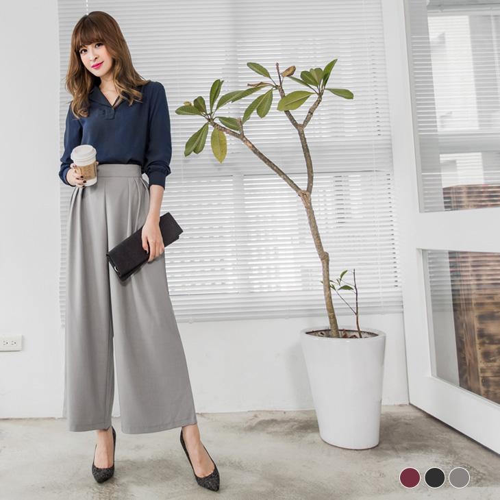 0308新品 純色彈性腰頭打摺設計寬褲裙.3色