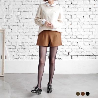 質感素色打褶修身短褲.3色