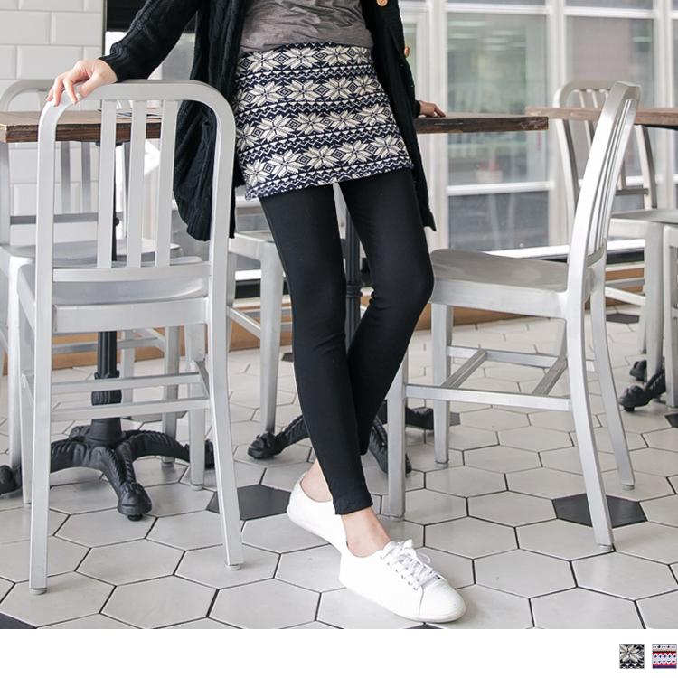 0ob刷毛褲429新品 雪花/橫條仿毛料小短裙假兩件式內搭褲.2色