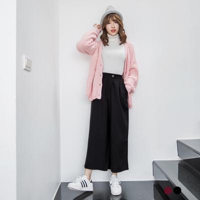 0115新品 純色質感打摺設計九分寬褲.2色
