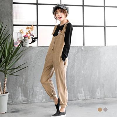 0226新品 燈芯絨直紋前扣吊帶寬鬆長褲.2色