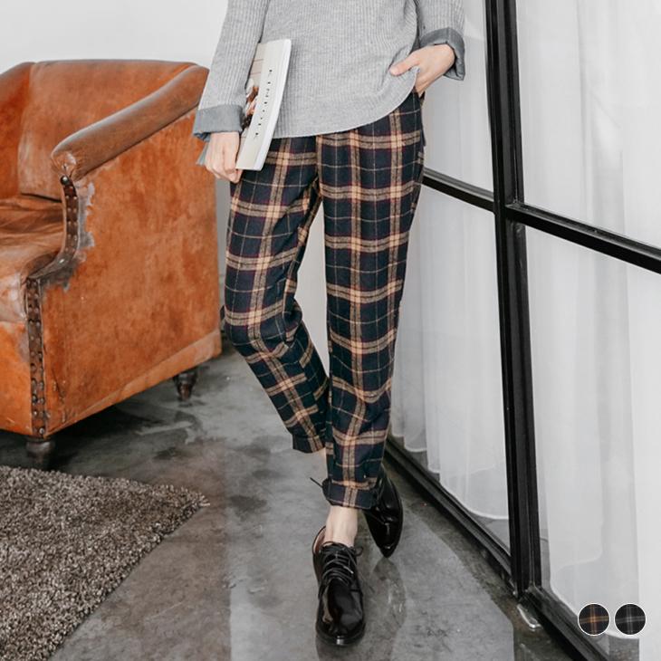 0219新品 磨毛格紋半鬆緊哈倫褲.2色
