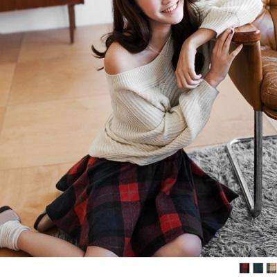 1202新品 經典英倫格紋鬆緊圓裙.3色