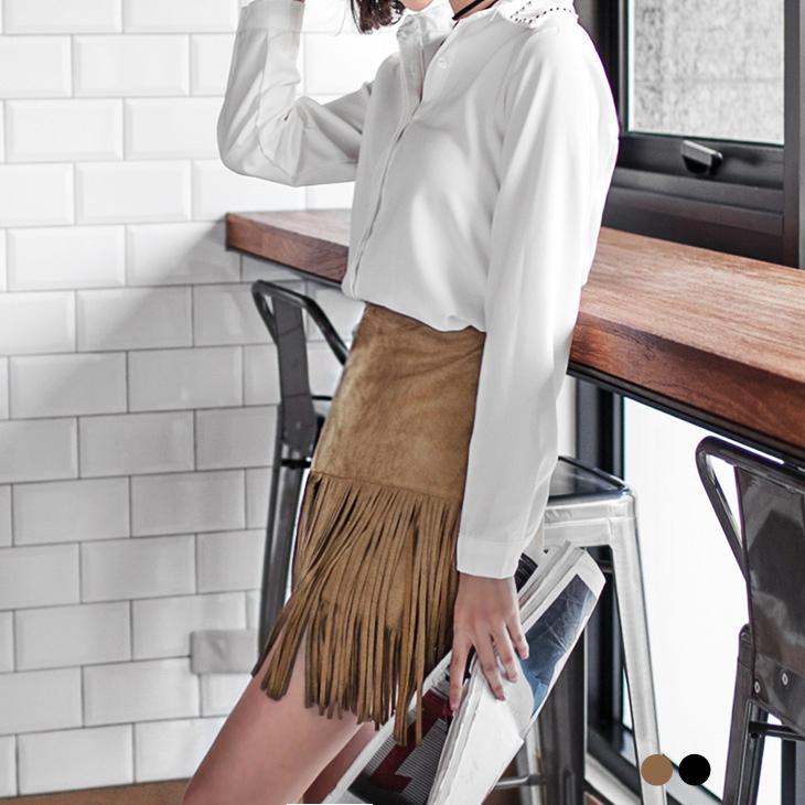 0226新品 素色麂皮流蘇層次短裙.2色