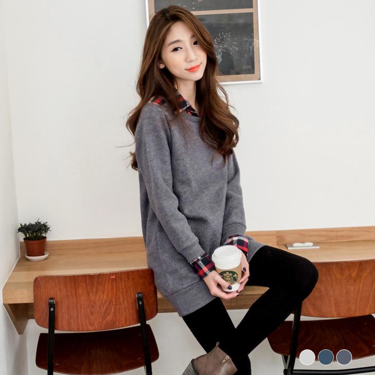 0125新品 經典格紋襯衫假兩件式內刷毛長版上衣.3色