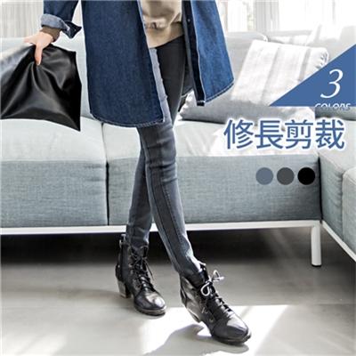 0412新品 側邊修身剪裁長腿比例窄管長褲.3色