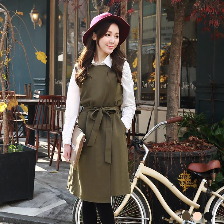 0203新品 附腰帶素色腰圍鬆緊斜裁無袖洋裝.3色