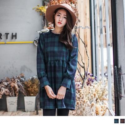 0304新品 格紋高腰傘襬細褶領口長版上衣/洋裝.2色