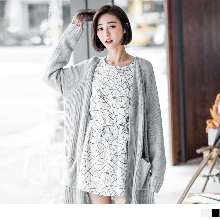 0125新品 滿版幾何印花抽繩洋裝.2色