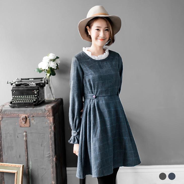 經典格紋雙側/袖口ob 門市打褶高腰洋裝.2色