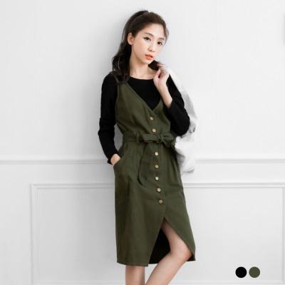 0203新品 附皮帶質感排釦設計無袖洋裝.2色