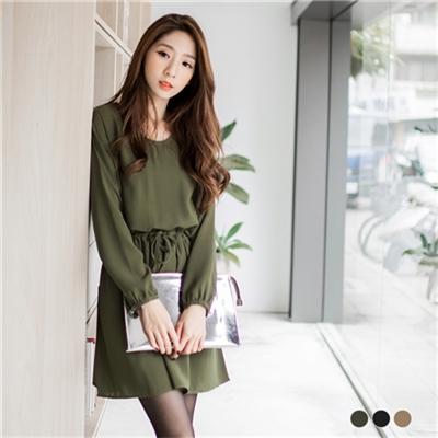 純色質感面料腰抽繩設計洋裝.3色