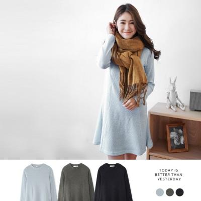 公主線素色柔軟仿毛料洋裝.3色