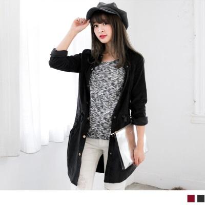 純色燈芯絨腰抽繩設計長版襯衫/外套.2色