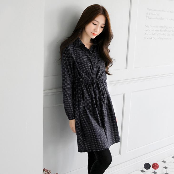 0226新品 小圓點雙口袋抽繩長版襯ob嚴選羽絨外套衫/洋裝.2色