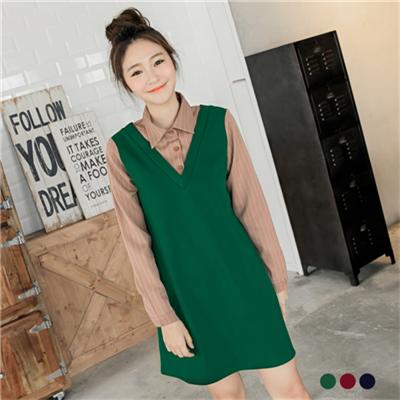 0401新品 假兩件式素色X條紋開襟洋裝.3色