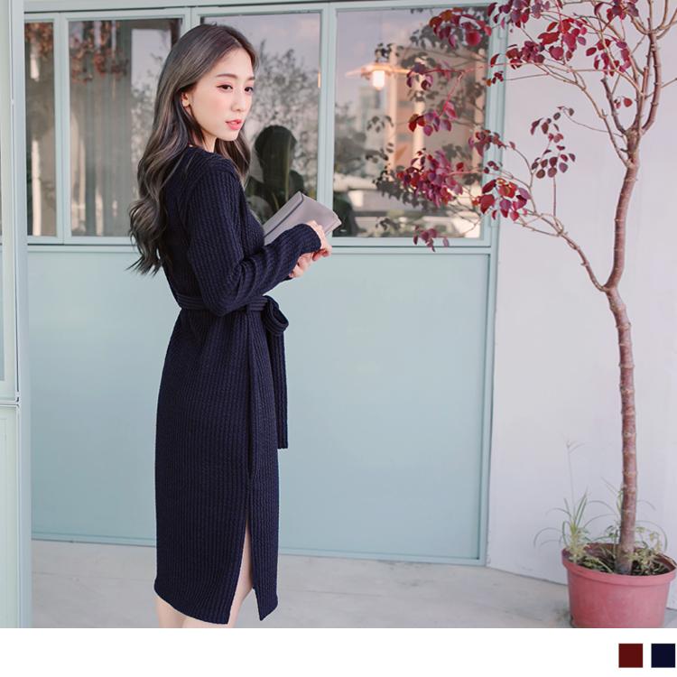 01ob 嚴 選 店面21新品 附綁帶V領素色仿毛料雙開岔洋裝.2色