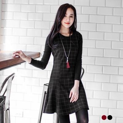 0113新品 經典格紋公主線傘襬無袖洋裝.2色