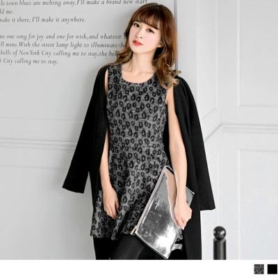 【好感洋裝♥2件68折】黑色/豹紋後拉鍊設計無袖洋裝.2色