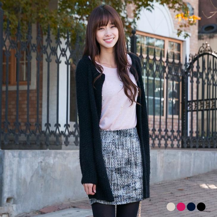 名媛香風~開襟雙口袋造型針織長版罩衫外套?4色