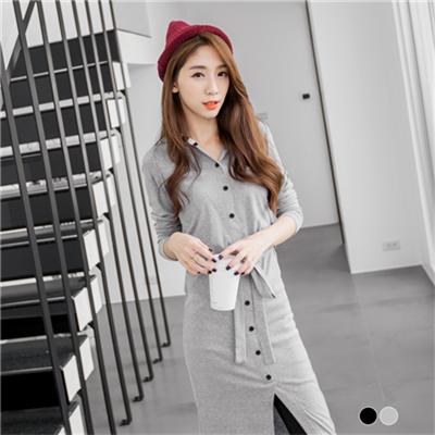 0308新品 開襟條紋連帽拼接長版上衣/洋裝.2色