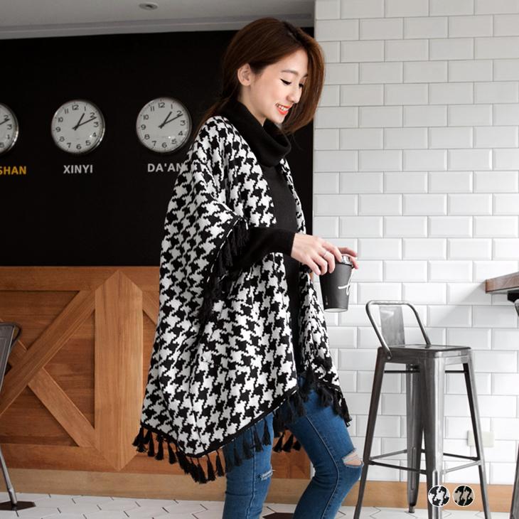 1123新品 開襟千鳥格Xobdesign.com.tw流蘇寬袖罩衫.2色