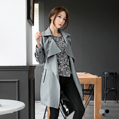 附腰帶質感開襟設計長版風衣外套.2色