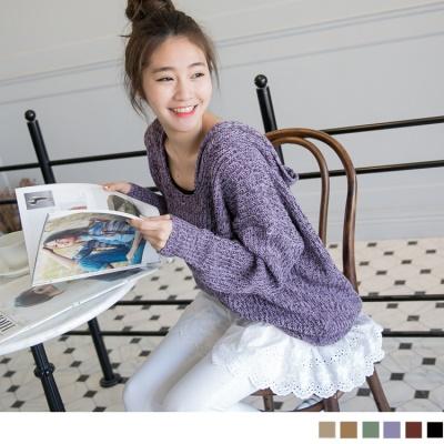 0226新品 獨特色調~U領飛鼠袖連帽混色嚴選針織上衣‧6色