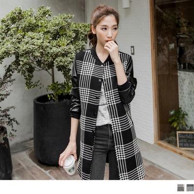 立體格紋X質感皮革拼接長版外套.2色