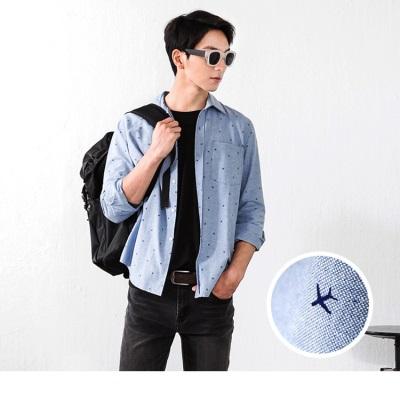 0603新品 質感飛機印花休閒襯衫‧男1色