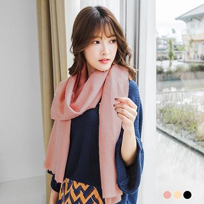 1119新品 【特價款】 珍珠綴柔感素色圍巾.3色