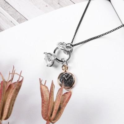 1209新品 【特價款】 鏤空金屬矩形mix水鑽項鍊